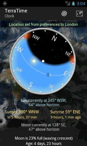 Phone Screen Shot: Compass Mode